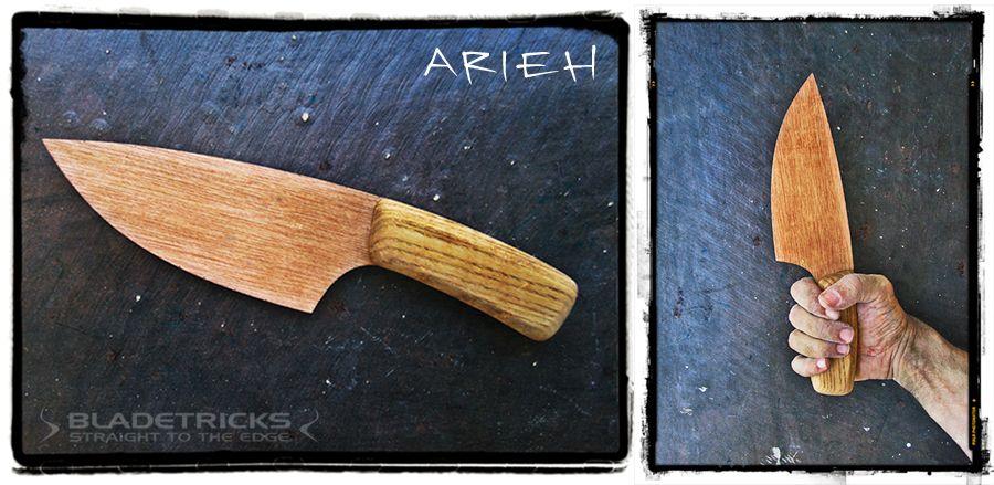 Custom knife maker Nash design process using wood scale models