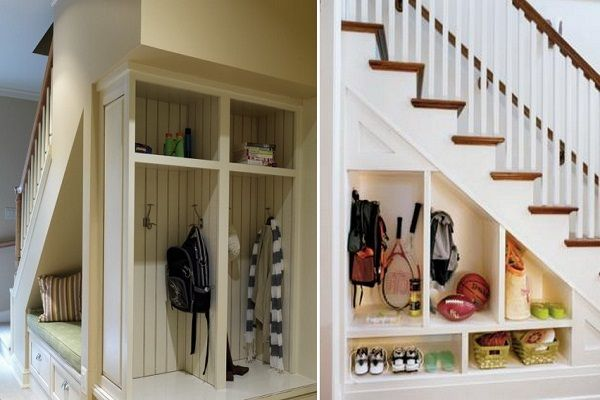 Storage Ideas For Small Space Under Stairs In Hallway With Images Staircase Storage Stair Storage Understairs Storage