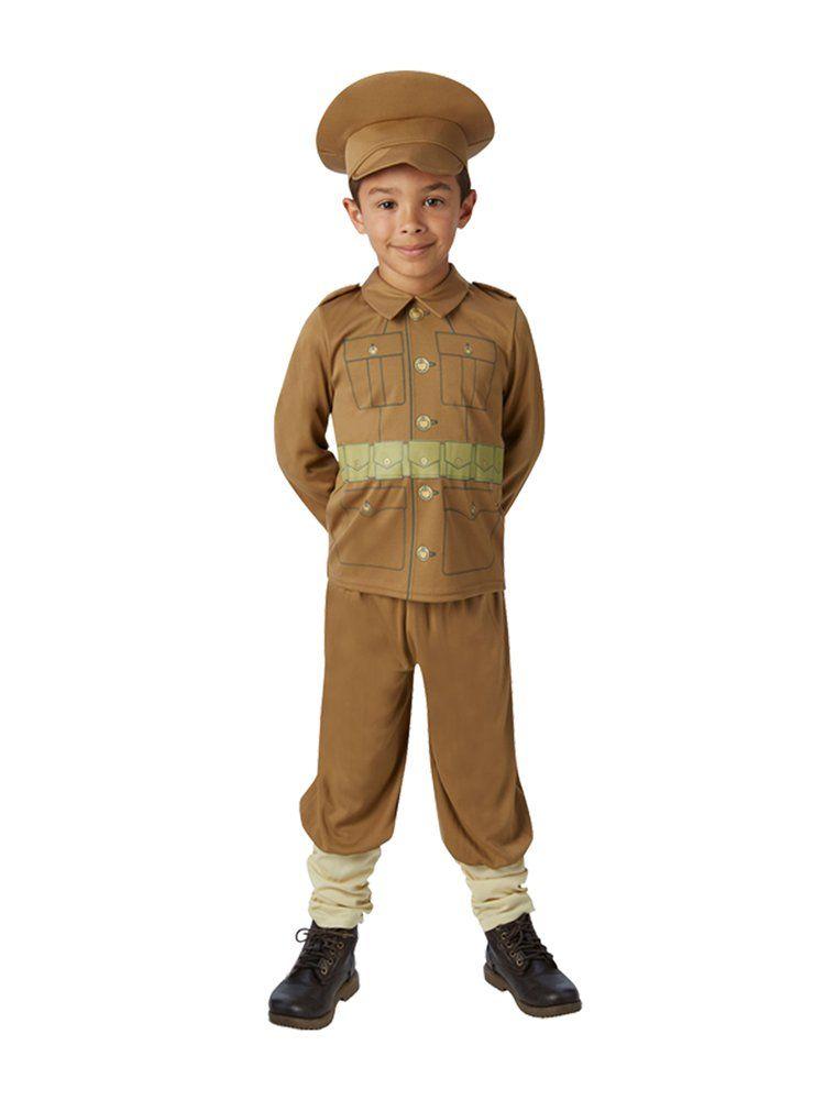 Kids WW1 WW2 Solider Boys Fancy Dress World War One Child Uniform Army Costume