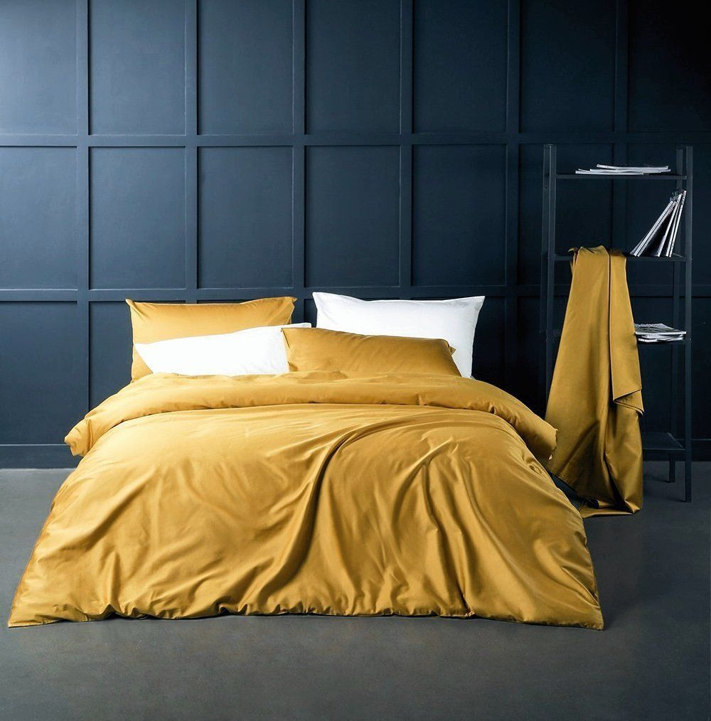 Lovely Solid Color Egyptian Cotton Duvet Cover Luxury Bedding Set King, Mustard  Yellow