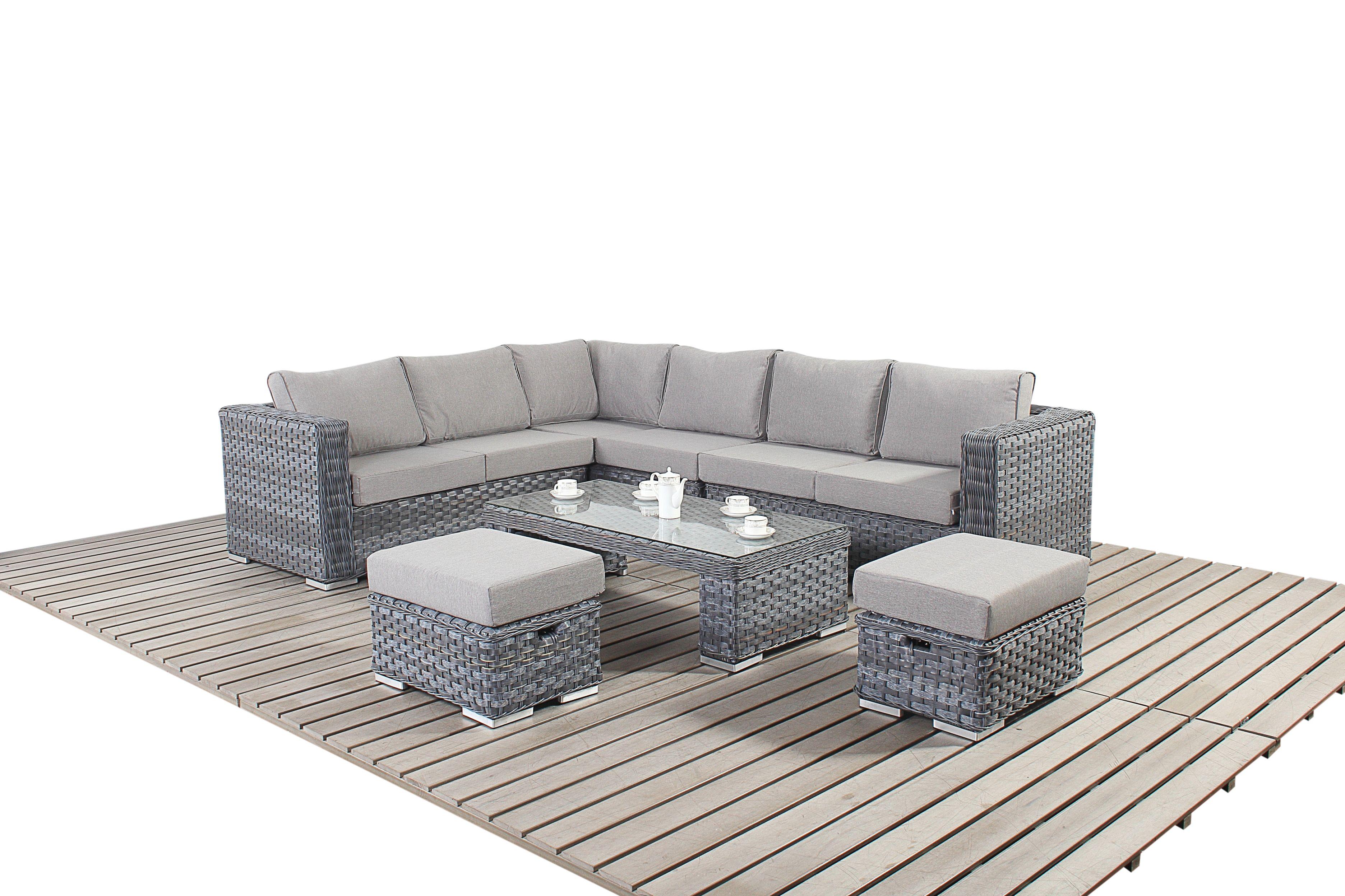 Surprising Port Royal Platinum Grey Table Modular Corner Sofa Rattan Machost Co Dining Chair Design Ideas Machostcouk