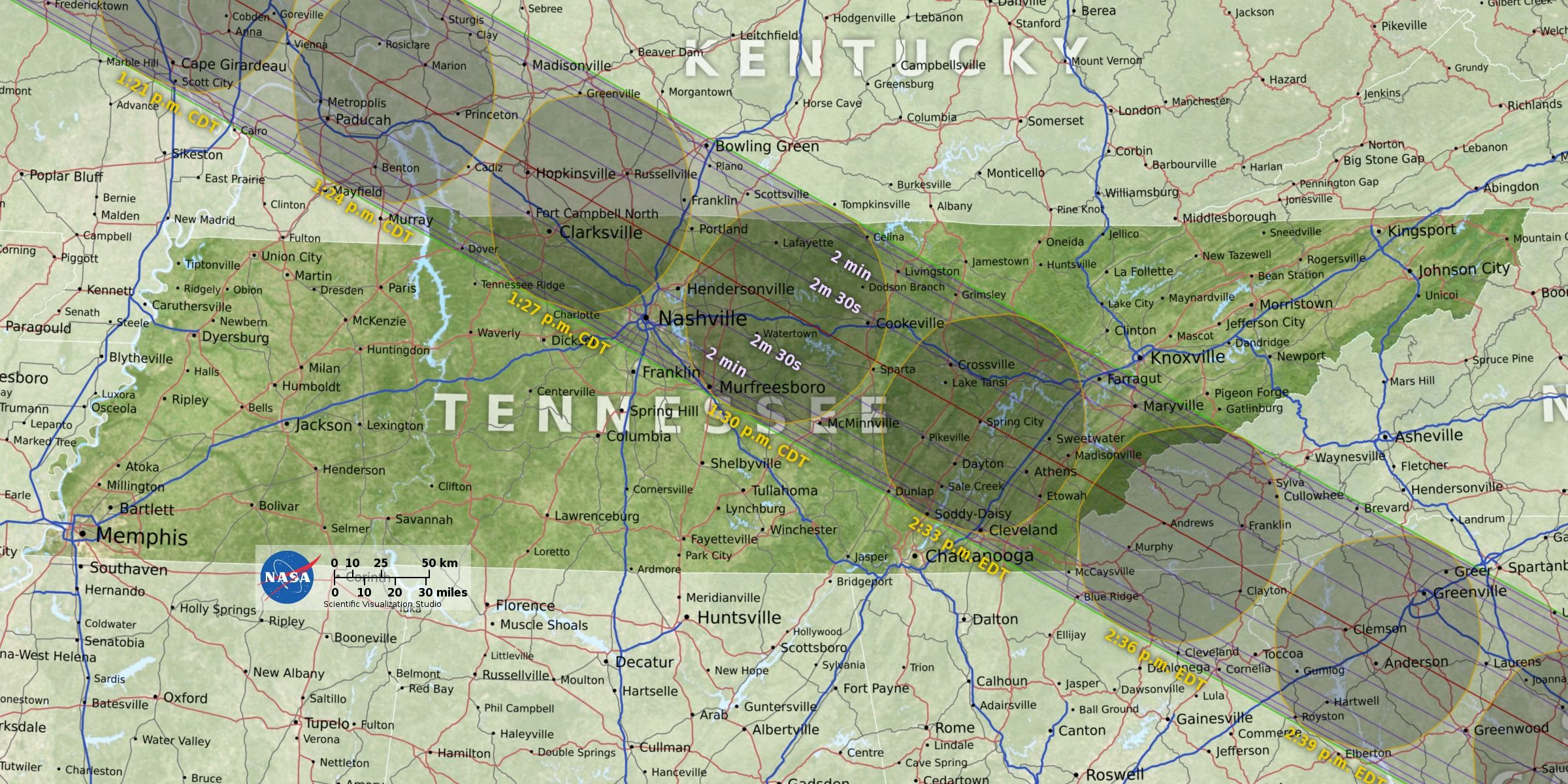 NASA Solar Eclipse Tennessee Path earth science