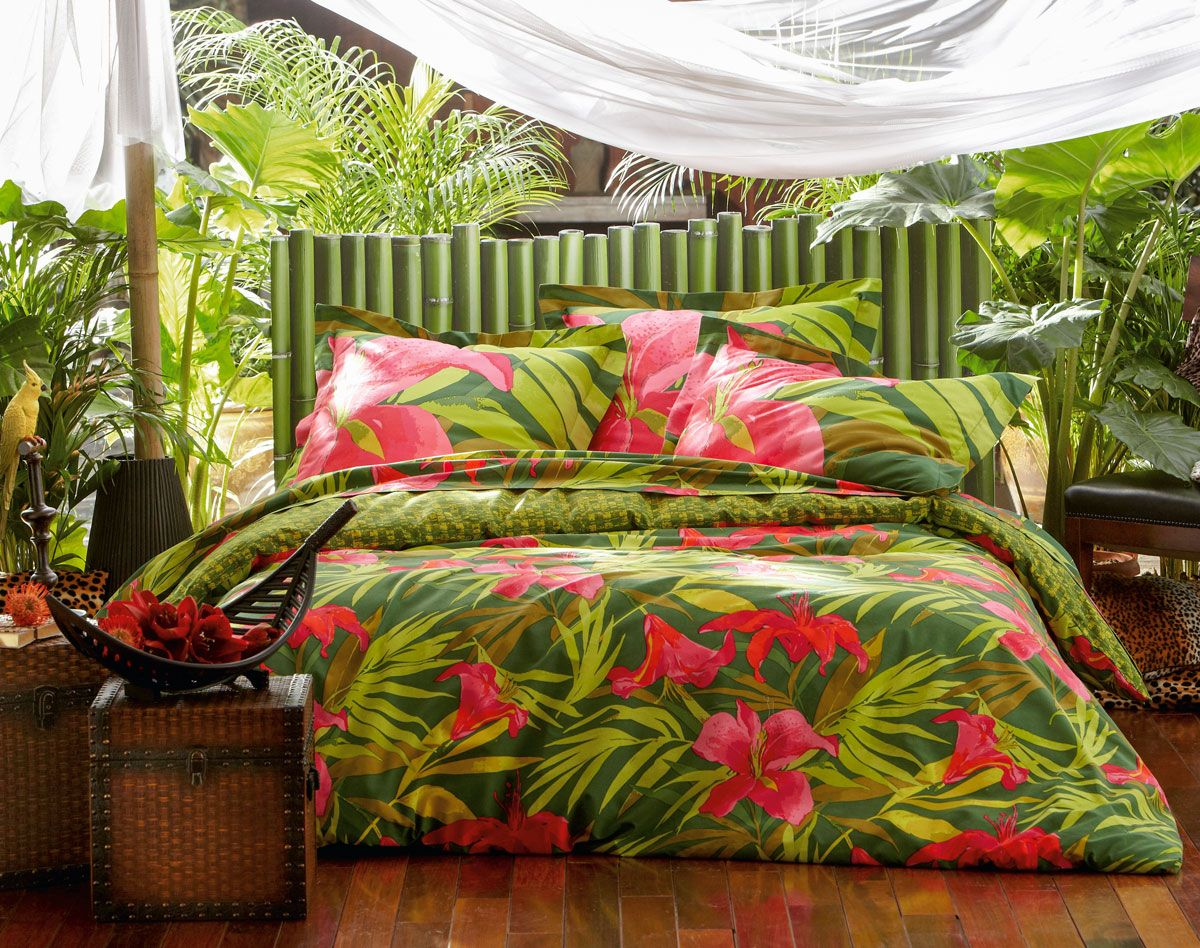 linge de lit impression motif tropical linge de lit. Black Bedroom Furniture Sets. Home Design Ideas