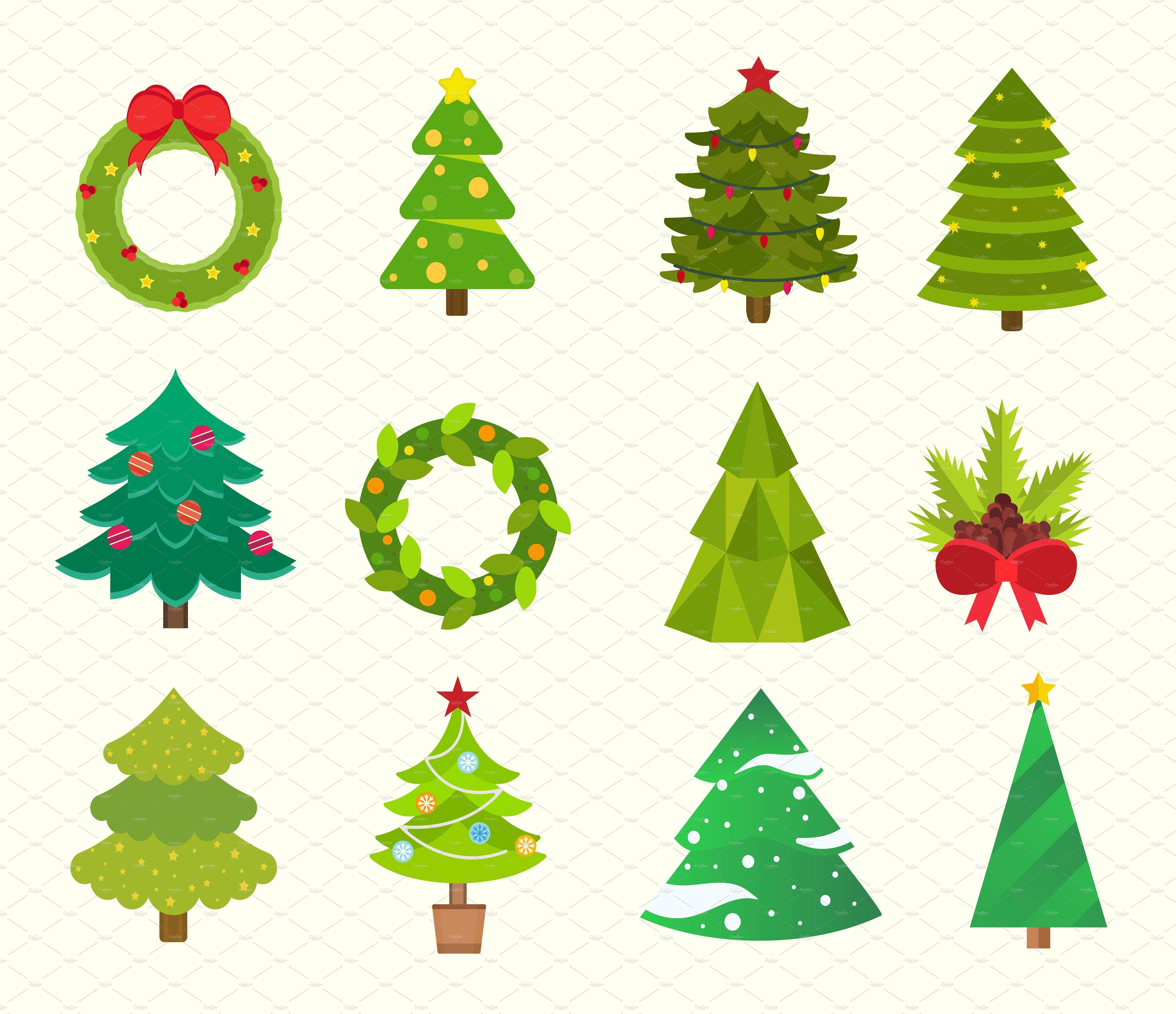 Christmas Tree Icons Set Vector Tree Icon Tree Doodle Christmas Icons