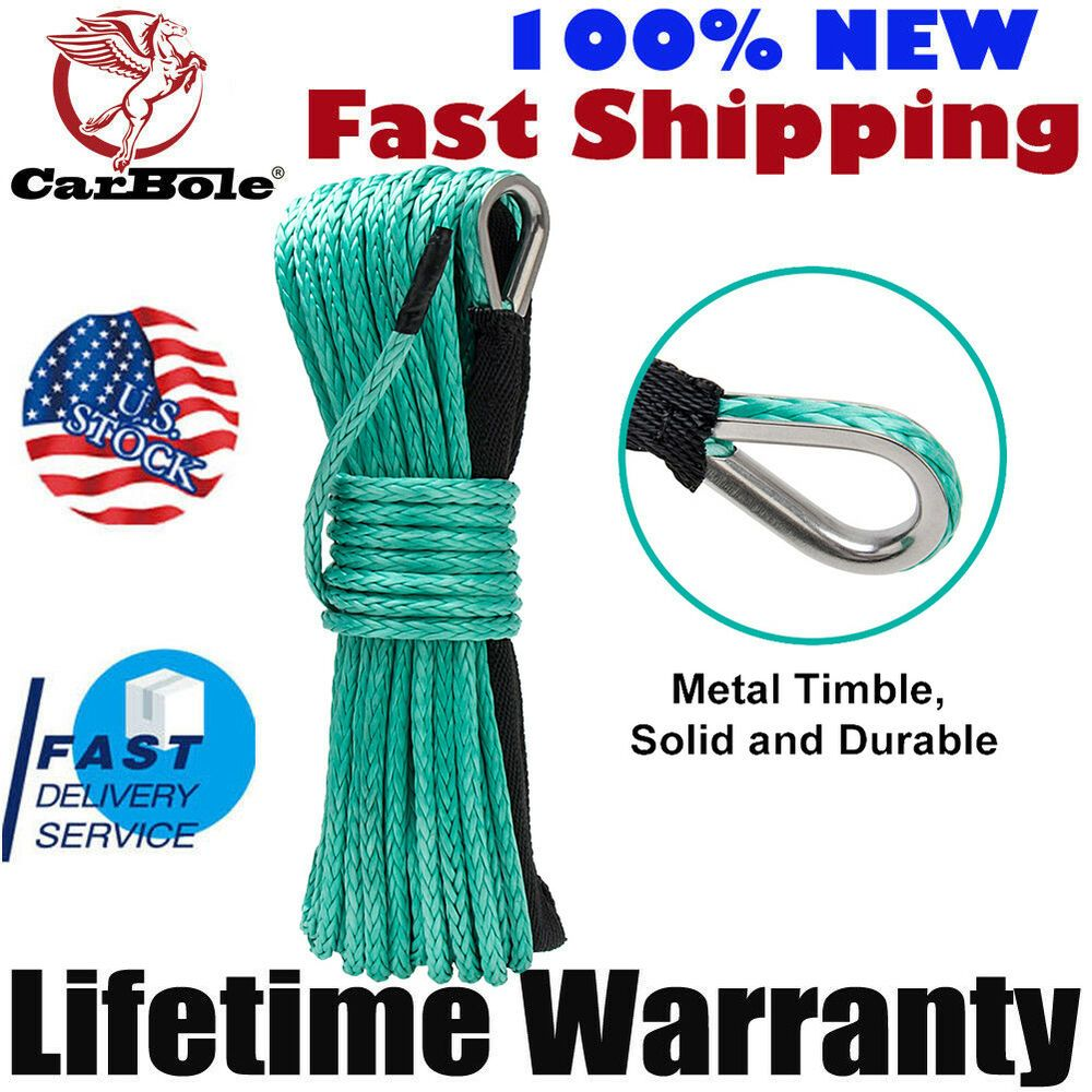 """1//4/"""" x 50/' Synthetic Winch Rope Line Cable 8200 LB Capacity for ATV UTV W//Sheath"""