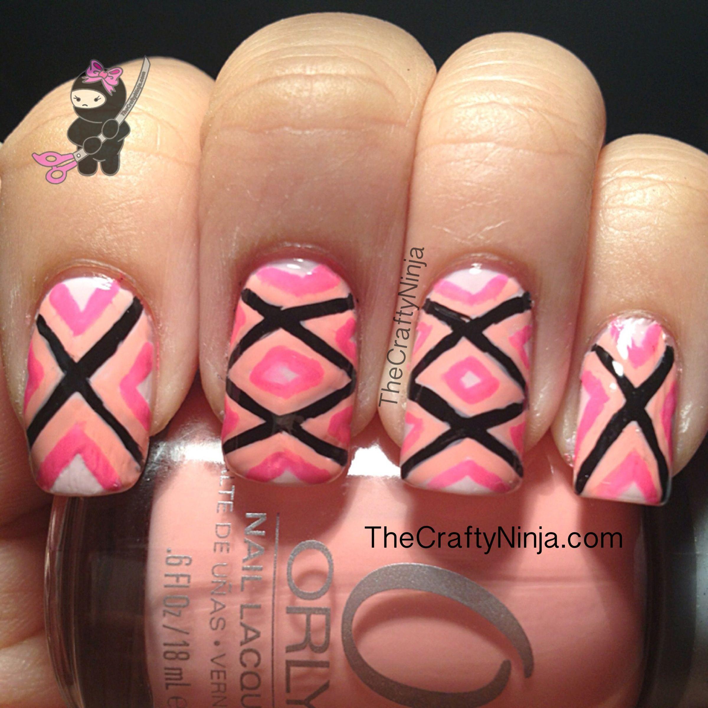 Geometric pink nail nails nailsart uñas pinterest pink