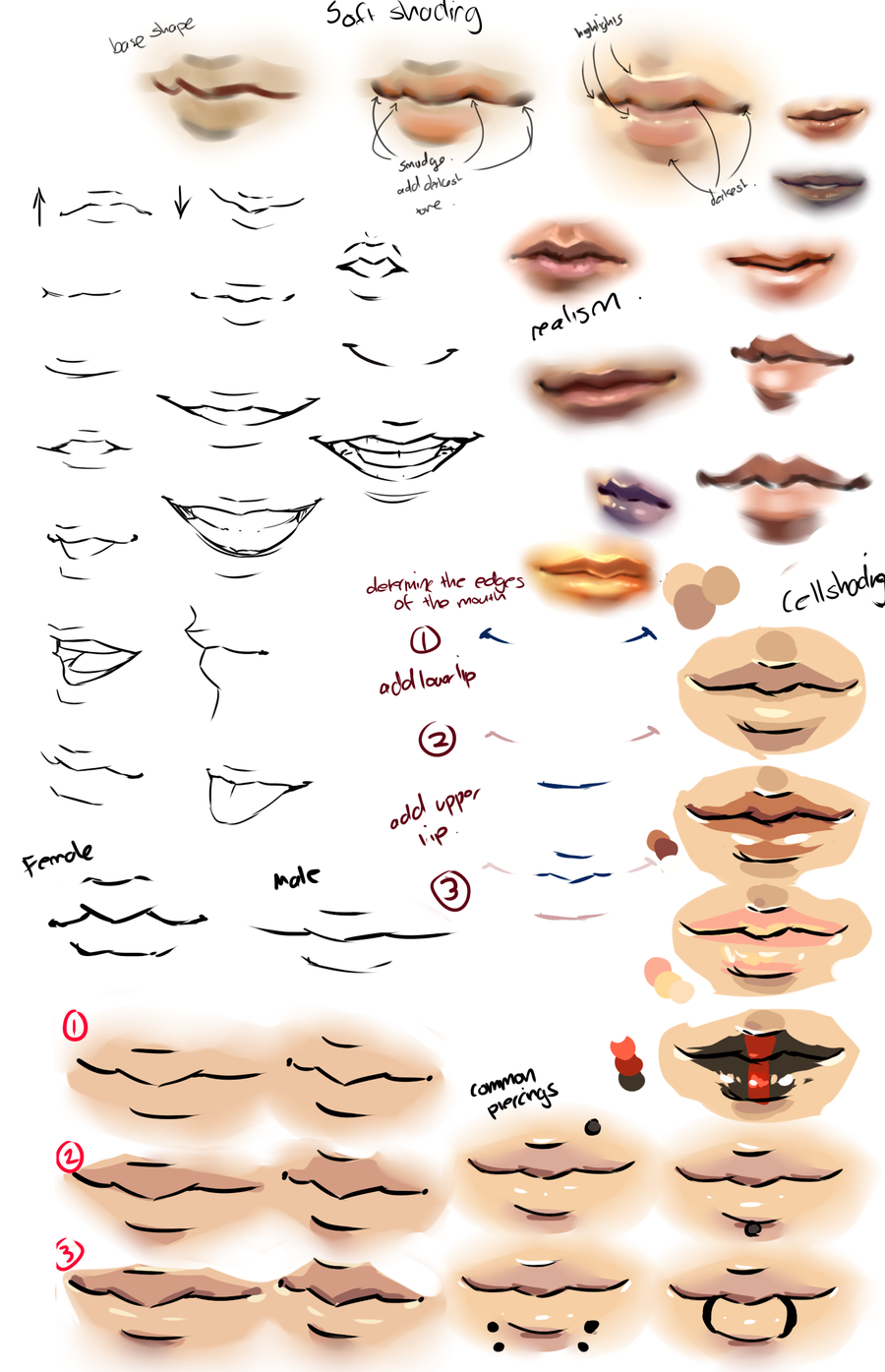 Anime And Realism Lips Tips By Moni158 On Deviantart Lips Drawing Anime Lips Drawings