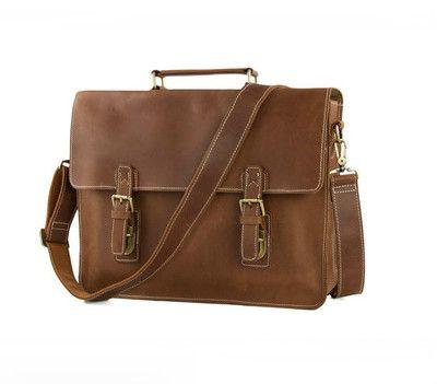 bc4d6d6345 Handmade Top Grain Brown Tan Real Leather Messenger Bag Laptop Bag Men  Women  Business Briefcase