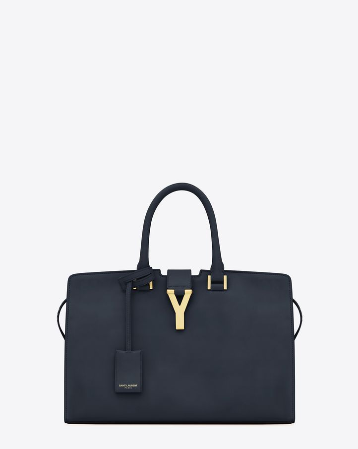 f67a246a9d5a Saint Laurent Classic Cabas Y Bag In Navy Blue Leather