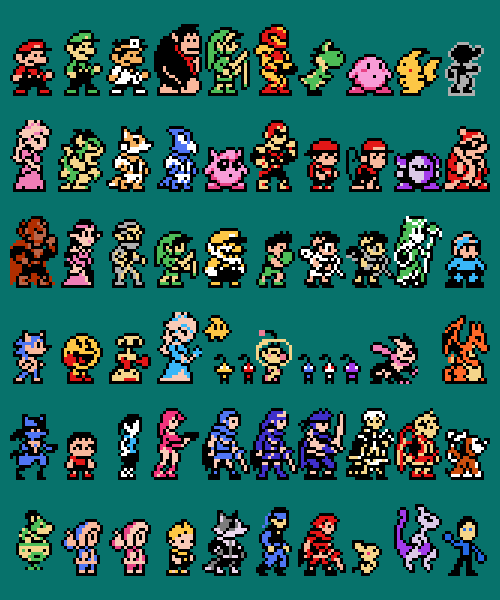 8 Bit Smash Bros Sprites Perler Beads Pixel Art Loom