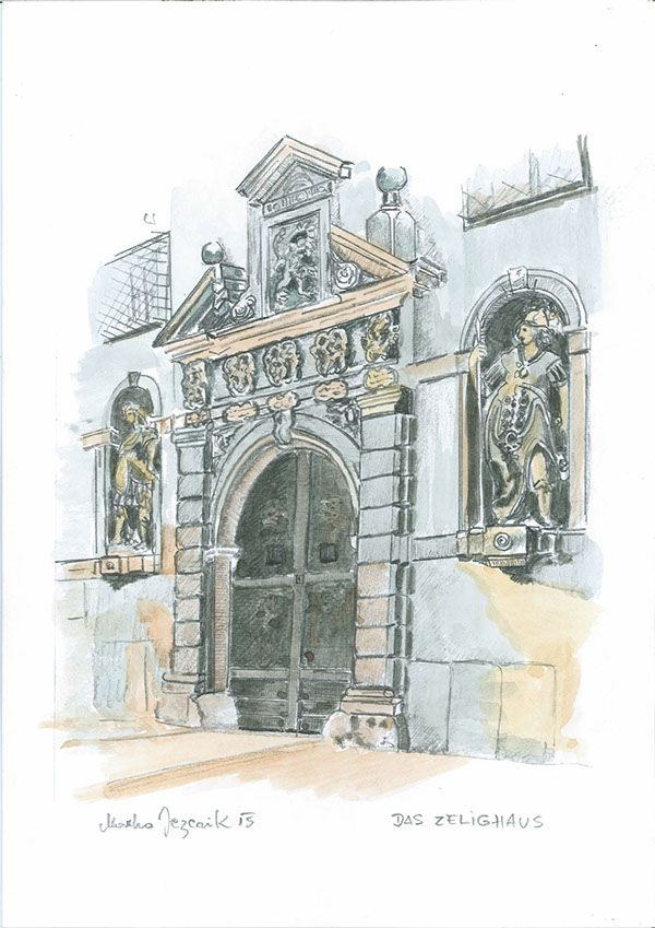 Marko Jezernik, Das Zelighaus-Graz, Austria, Unknown, Watercolour on Paper, #BAG #BalkanArtistsGuild
