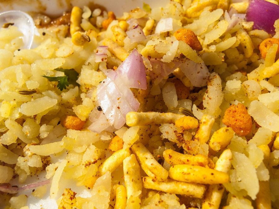 Close up of the Indian fast food delicacy called Bhel Puri