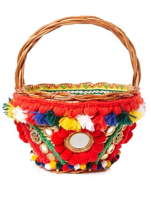 922214f4a2ecc Dolce   Gabbana Agnese pompom-embellished basket bag   Bags   Bags ...