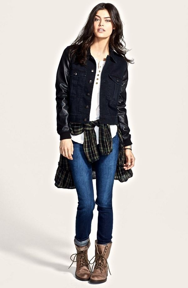 NWT $148  Free People Denim Black Jacket Faux Leather Sleeve relaxed fit XS #FreePeople #denimjacket