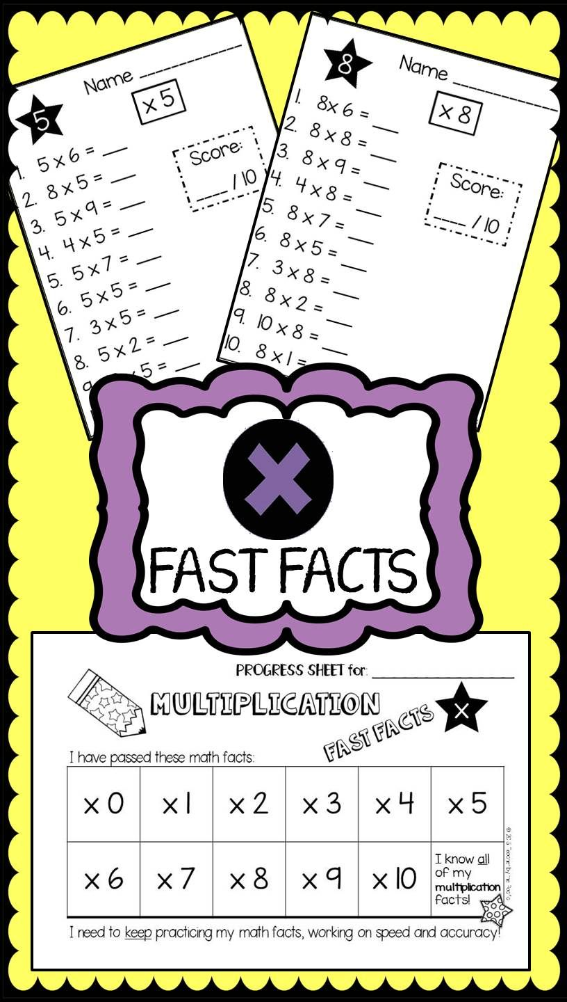 Math FAST FACTS: Multiplication Quizzes, 0-10 | Multiplication facts ...