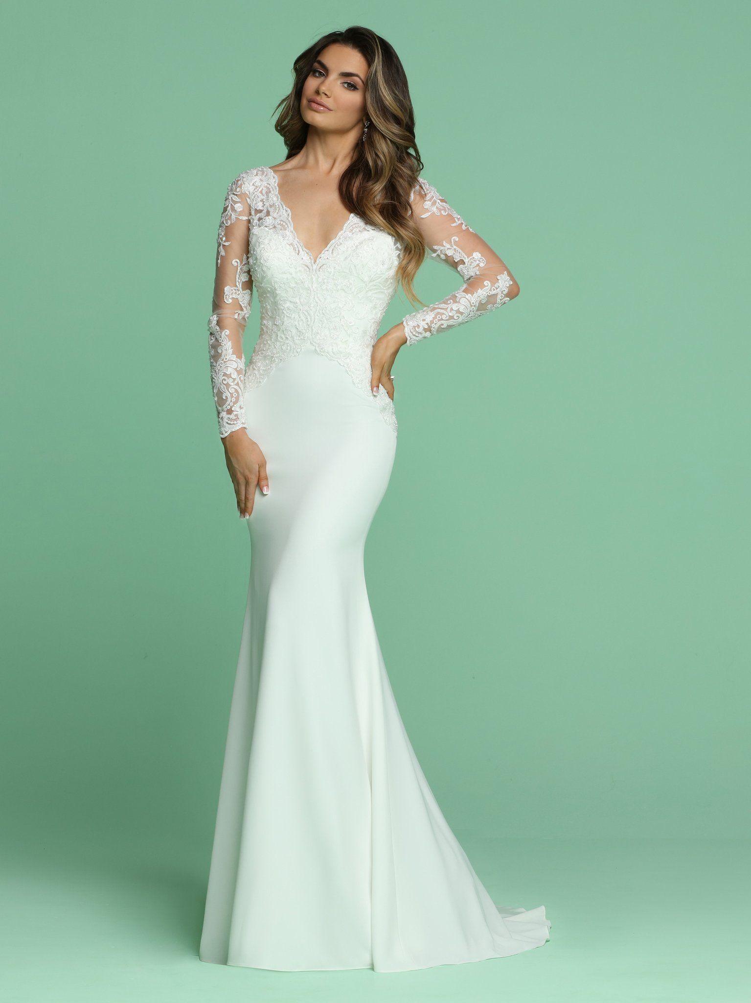 Davinci Bridal 50610 Long Sleeve Sheer Lace Fitted Wedding Dress V Neck Gown Long Sleeve Wedding Dress Lace Fitted Wedding Dress Form Fitting Wedding Dress [ 2048 x 1535 Pixel ]
