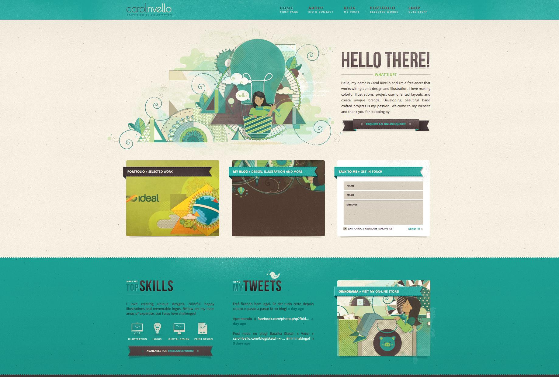 Texture website design: http://www.carolrivello.com