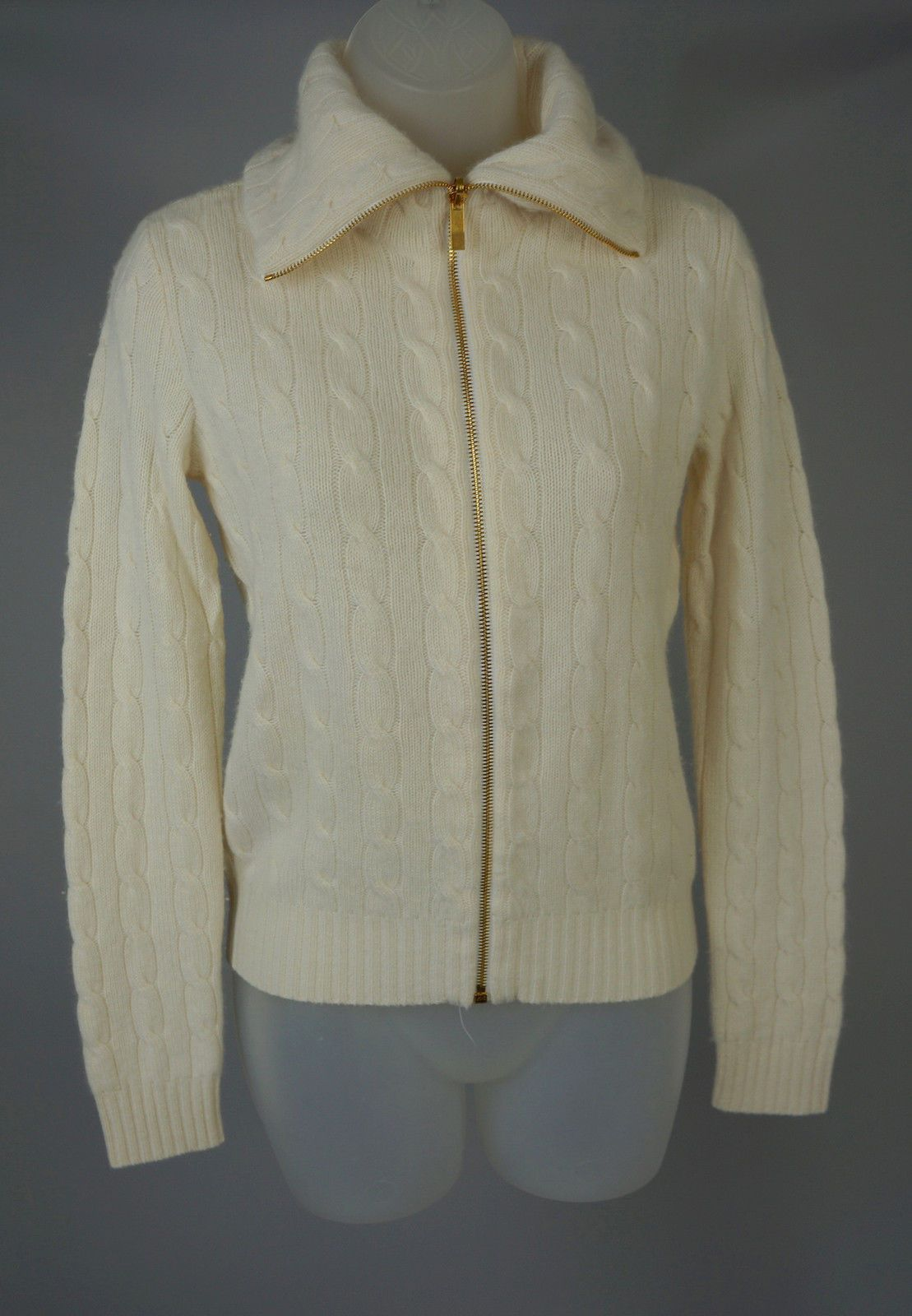 Womens Ralph Lauren Black Lbl Ivory Cable Knit Cashmere Cardigan ...