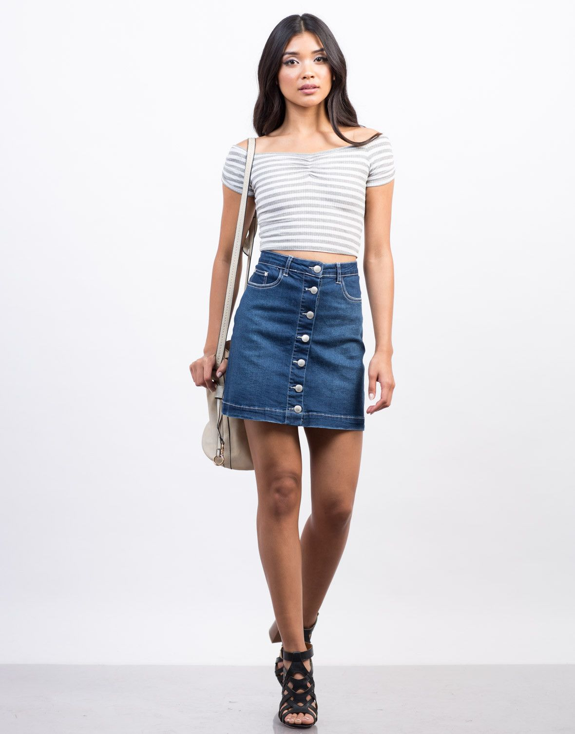 Flared Denim Skirt | Blue denim skirt, Denim skirt and Front button