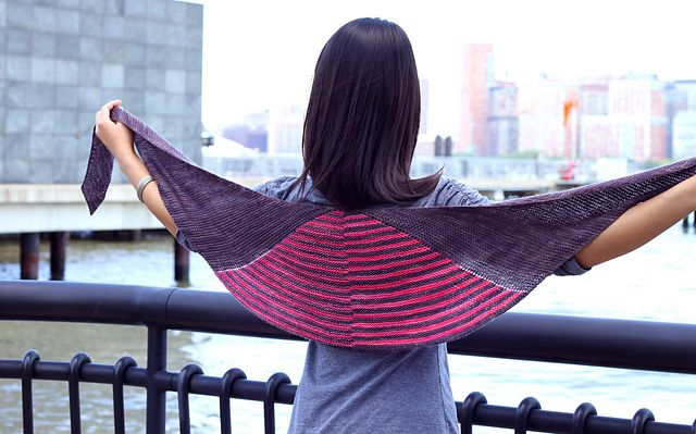 Yin Yang Shawl pattern by Angela Tong | malabrigo Sock in Eggplant and Light of Love