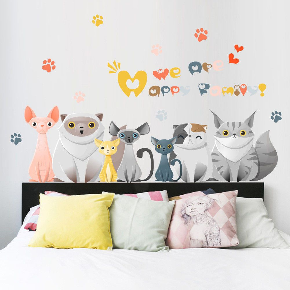 Cats Wall Stickers Cartoon Animals Kittens Decals Beedroom Decorations Y