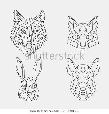 62de4275b A set of geometric linear polygonal wild animals.Abstract head of a wild  boar, wolf, rabbit and fox. Vector. Sketch for tattoo or coloring book.