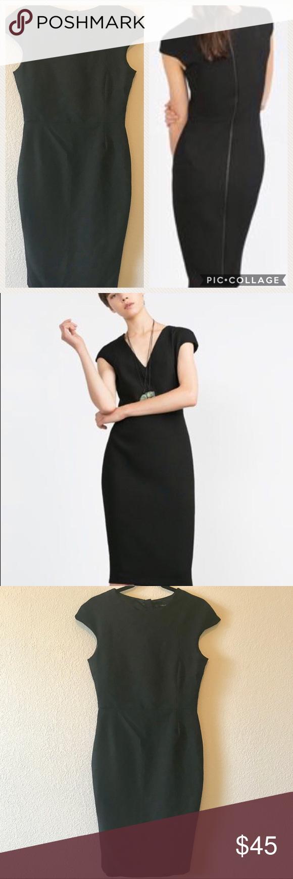 Zara Black Midi Dress Full Back Zipper Sz L Black Midi Dress Dresses Zara Black [ 1740 x 580 Pixel ]