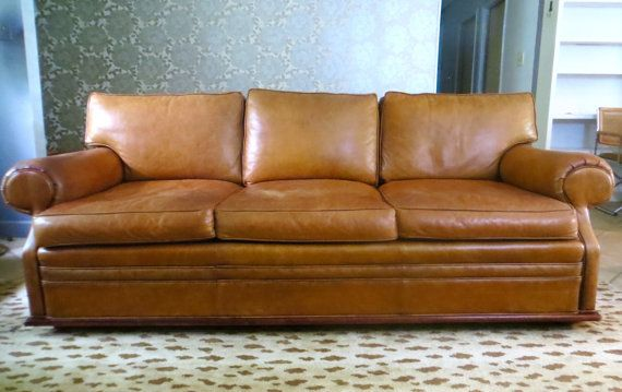 Vintage Ralph Lauren Brown Leather Sofa Caramel Brown Leather