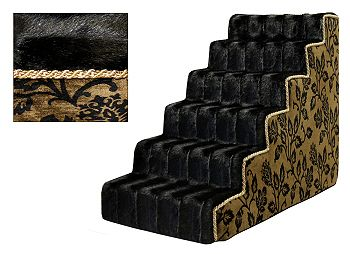 Luxury Upholstered Pet Dog Stairs - Black Leaf