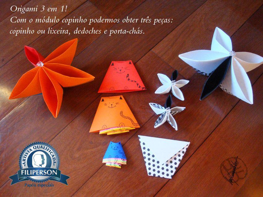 [ Terceiro post do mês de abril de 2016 – Série Origami 3 em 1 ] Com um módulo/peça de origami, nesse caso iniciando com a forma básica do copinho (tradicional). Poderemos obter três peças: 1. próprio copinho ou  uma lixeirinha sustentável com jornal (em formato maior 2. Dedoches para as crianças (para contação de histórias com gatinhos). 3. Porta chá ou porta trecos Utilizei os papéis:  Filipaper Decor, Filipinho Color e Filipinho Color Cards Lumi. Mais informações sobre os papéis na loja