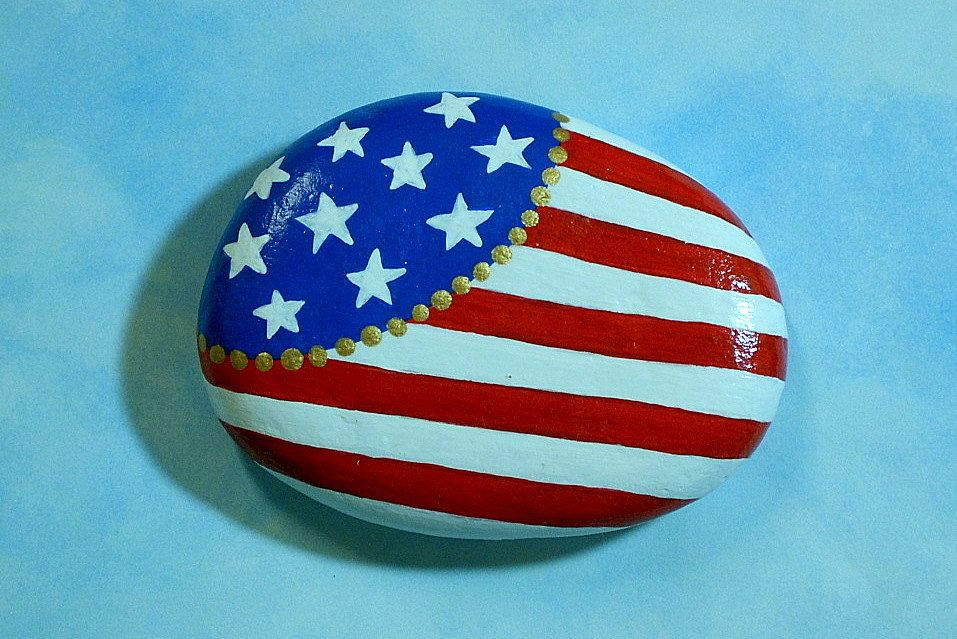American Flag Painted Rock Military Patriotic Red White Blue Stars Stripes Tableweight Napkin Weight Bbq Patio Decor Spring Summer July 4 American Flag Painting Flag Painting Painted Rocks