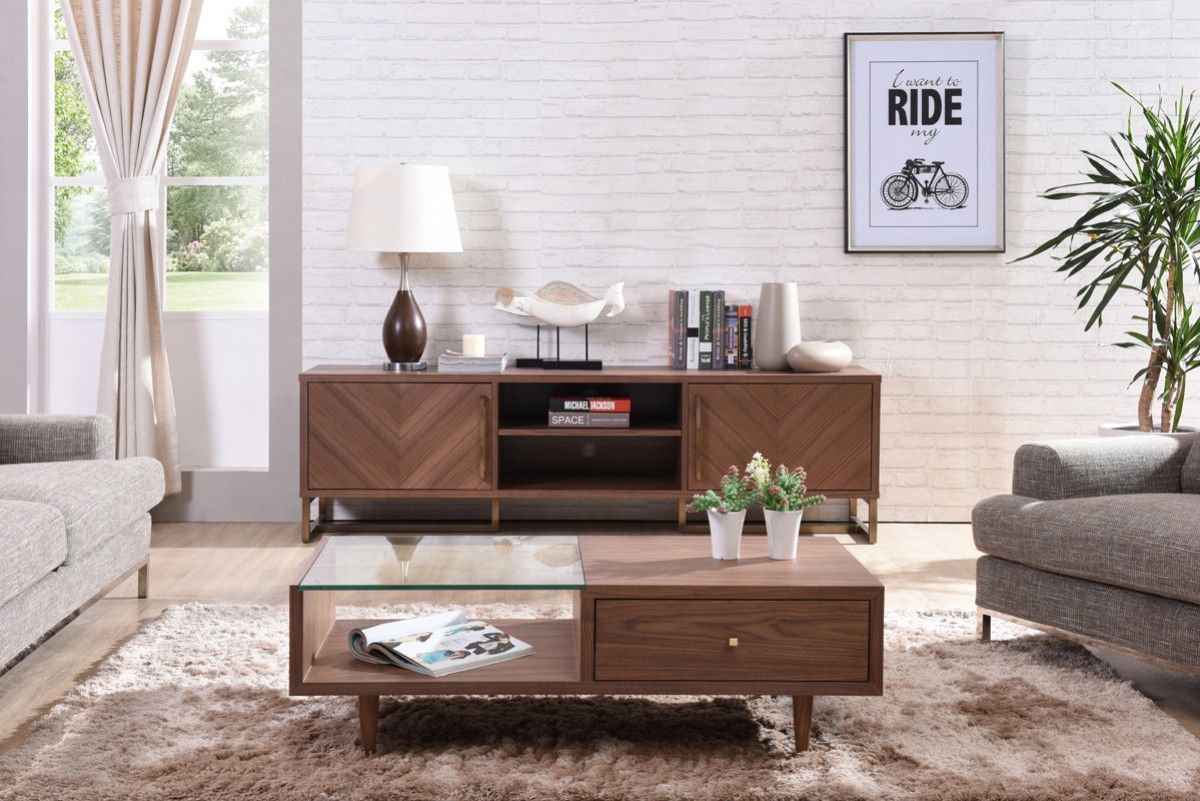 Walnut Wood Modern Media Console On