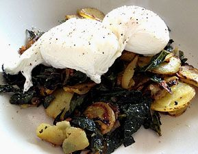 Kale and potato hash topped with poached eggs. (Made this - one of my favorite breakfasts I've ever made!)