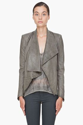 Helmut Lang Grey Leather Jacket for Women | SSENSE | WARdrobe ...