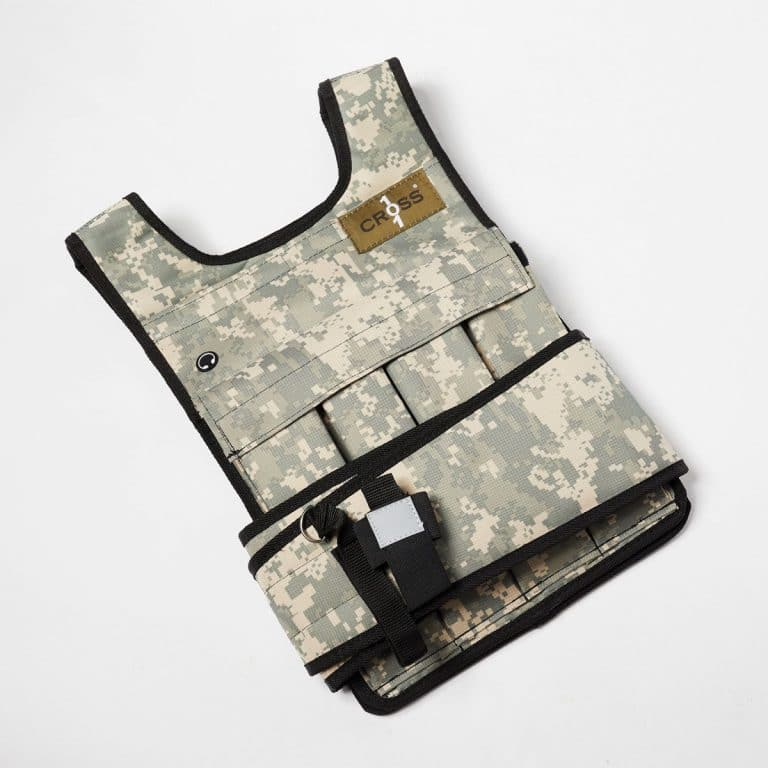 RUNmax Cross101 Adjustable Camouflage Weighted Vest with Shoulder Pads
