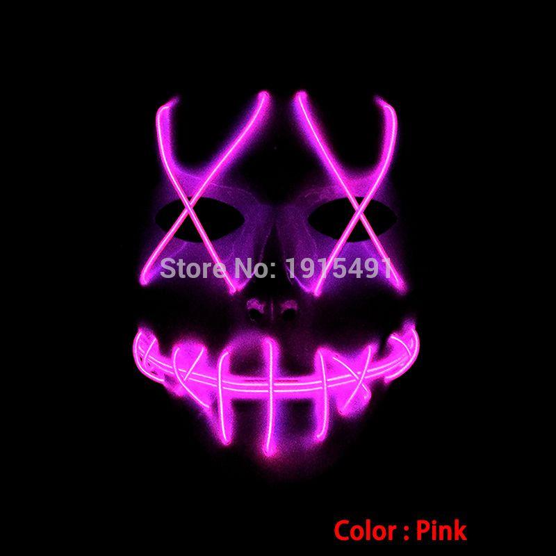 Christmas Cosplay Decor Pink EL Cold Light Mask Holiday Lighting
