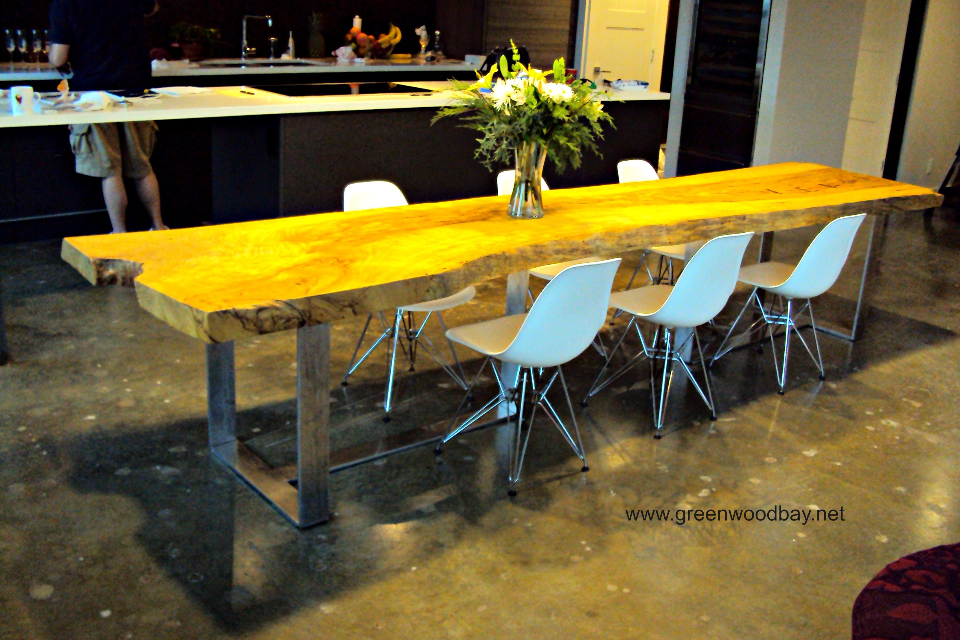 Live edge dining table this table is made from a single for Dining table construction