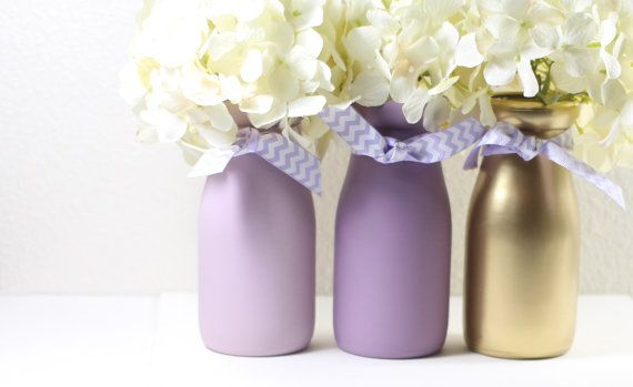 lavender and gold baby shower decorations first birthday painted milk bottles by halfpintpmb