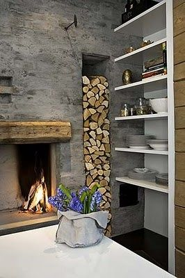 wood storage and concrete wall