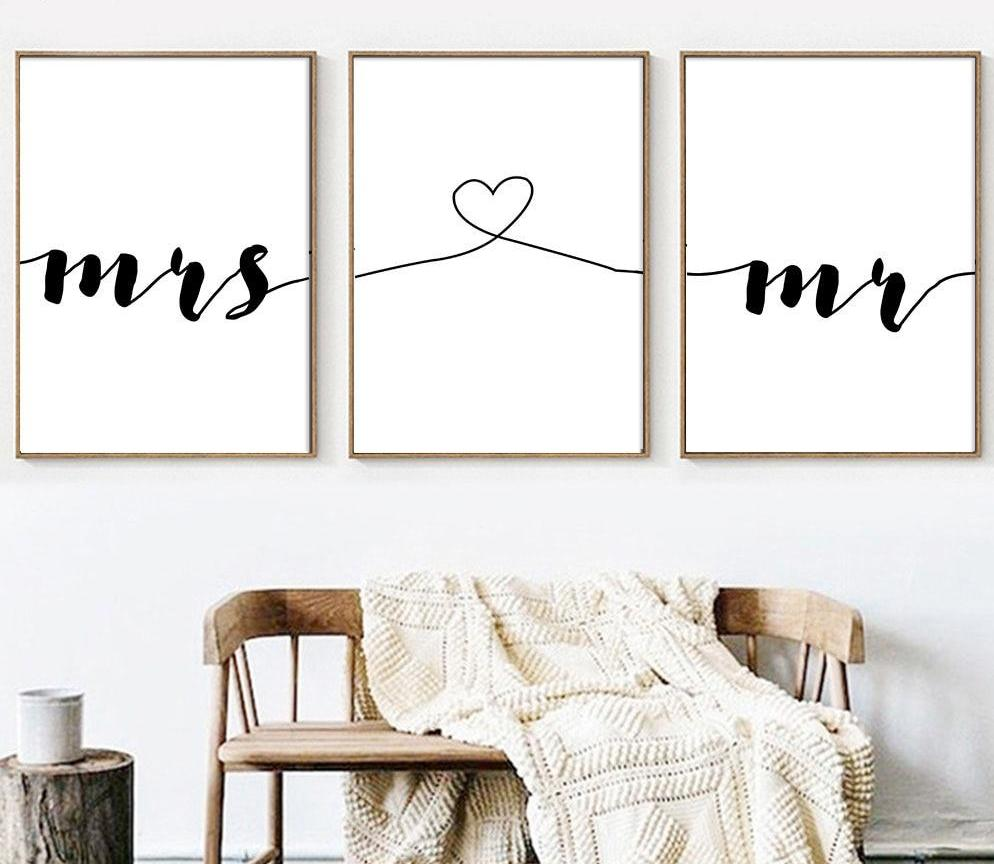 Mr Mrs Canvas Wall Art Newlywedbedroom Beautiful Wall Art To Make Your Home Even More Beautiful Remind You In 2020 Family Wall Art Bedroom Wall Art Family Wall
