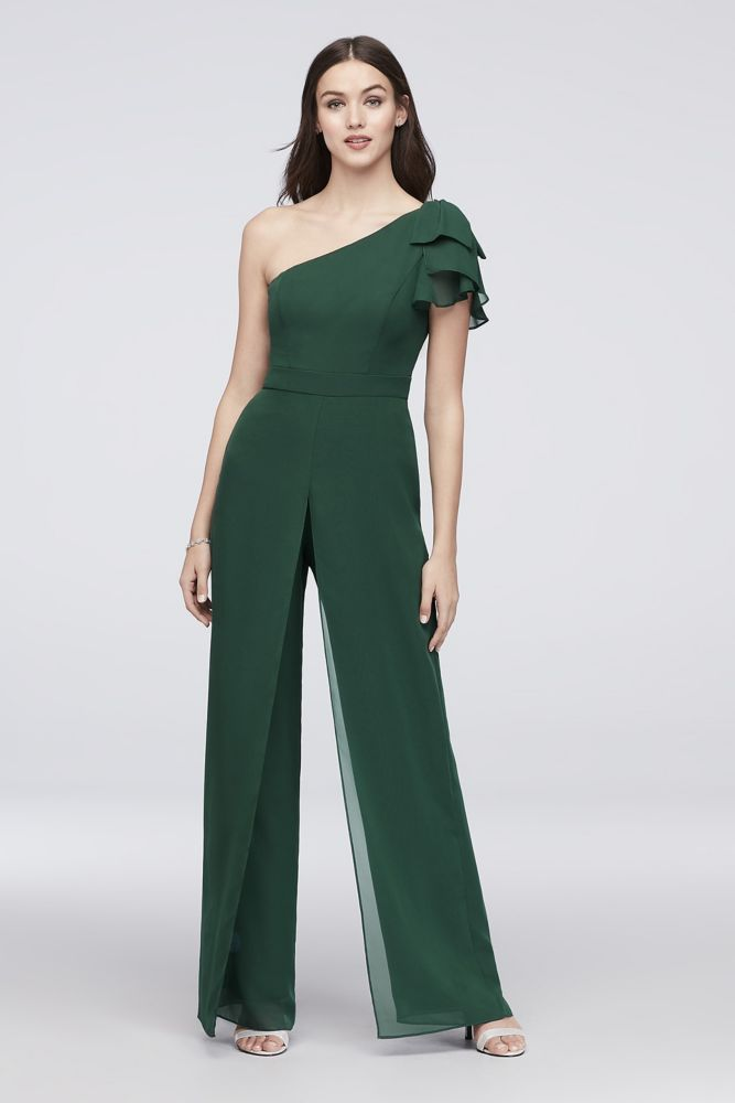 One-Shoulder Chiffon Bridesmaid Jumpsuit Style AP2E203334, Dark Green, 6 #bridesmaidjumpsuits One-Shoulder Chiffon Bridesmaid Jumpsuit Style AP2E203334, Dark Green, 6 #bridesmaidjumpsuits