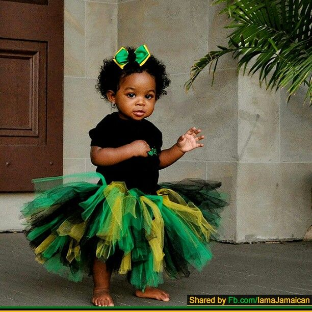 Jamacian Women Hairstyles: Tutu And Hair Bow In Colors Of Jamaican Flag