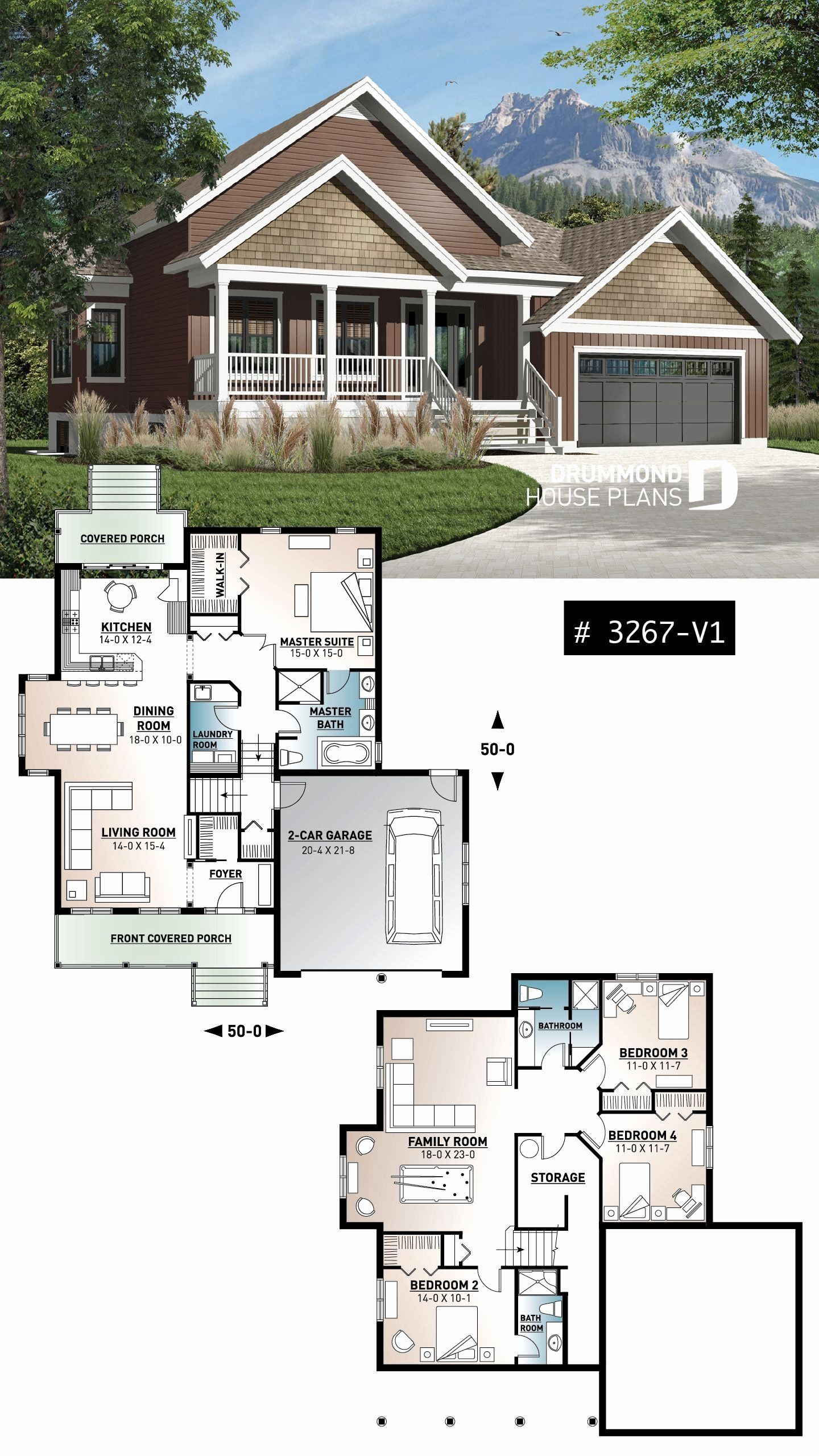 Craftsman 4 Bedroom House Plans Awesome House Plan Jackson 2 No 3267 V1 In 2020 Bungalow House Design House Blueprints Craftsman Style House Plans