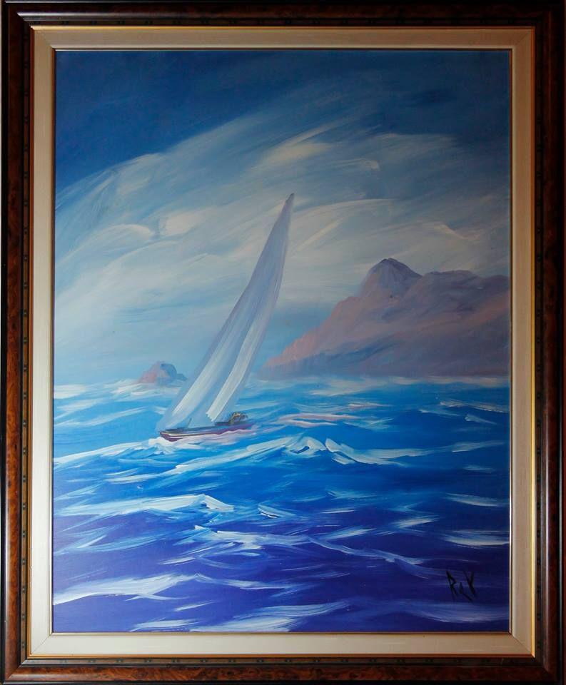 VELERO Pintura al oleo sobre lienzo de tela con marco y sobre marco ...