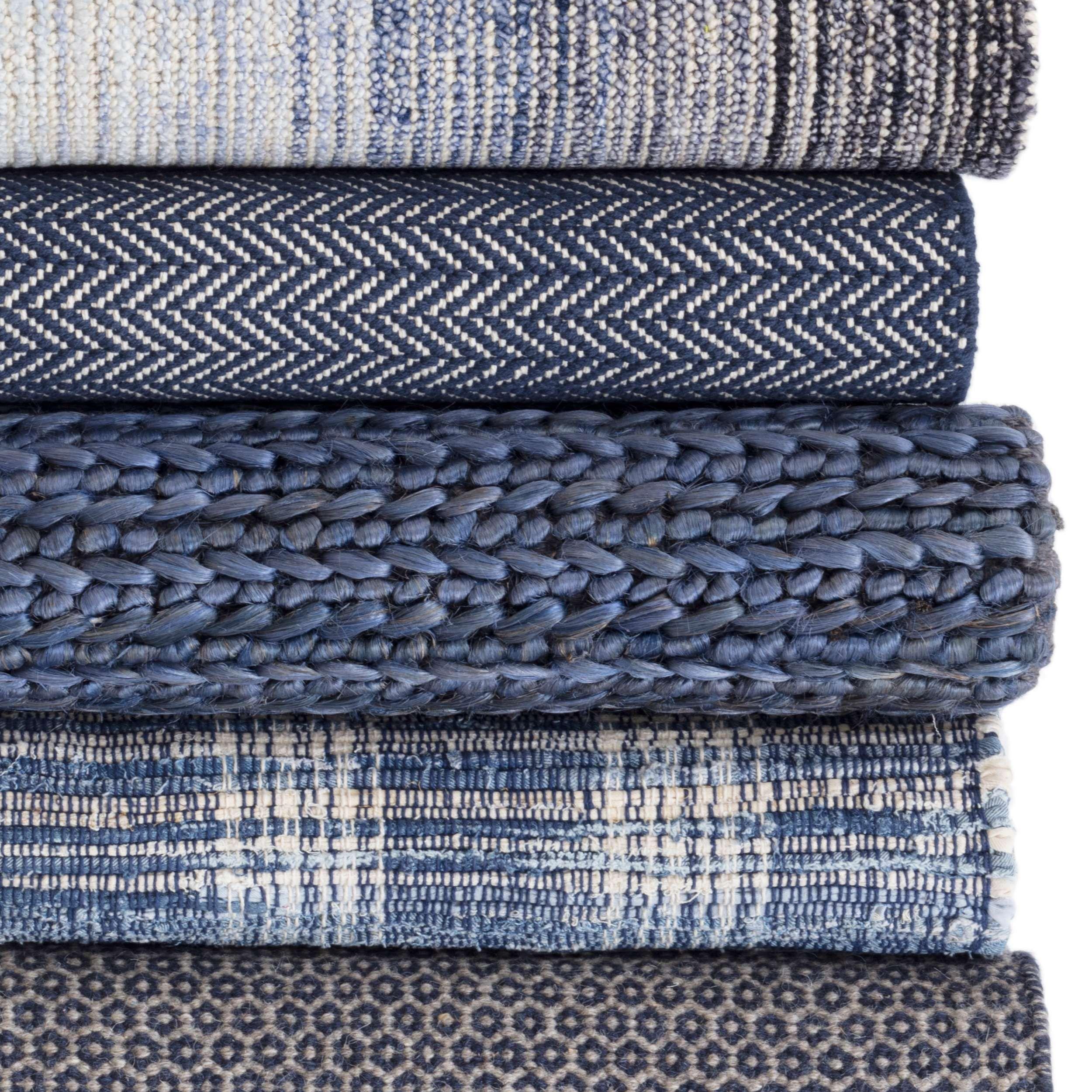 Denim Plaid Woven Cotton Rug Dash Albert In 2020 Rugs Woven Rug Wool Area Rugs