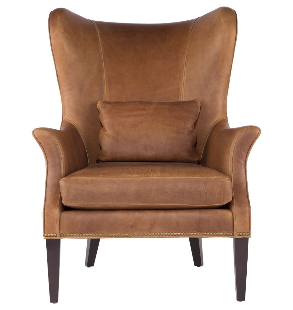 Lederohrensessel Clinton Modern Wingback Leather Chair With Nailheads In 2019