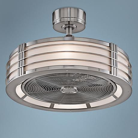 This ceiling fan features a sleek brushed nickel finish motor and integrated opal frosted glass light