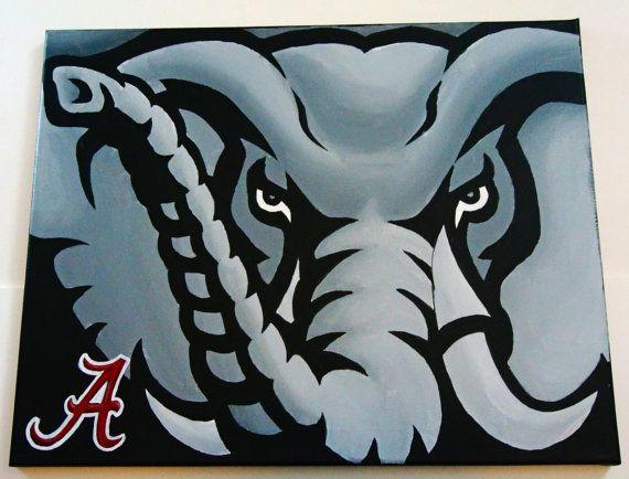 Hand Painted Alabama Crimson Tide Logo 16x20 Canvas Alabama