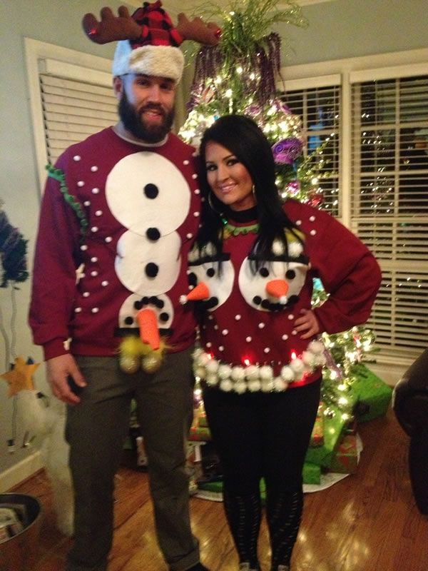 12 Hilarious Ugly Christmas Sweaters for Couples - ODDEE - 12 Hilarious Ugly Christmas Sweaters For Couples My Funny Pages