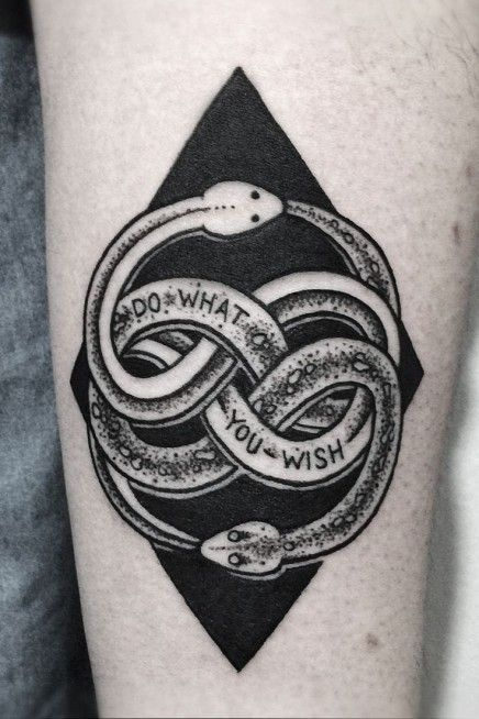 Very Nice Looking 2 Snake Ornament Supplemented With A Quote Saying DO WHAT YOU WISH